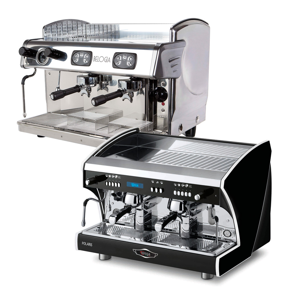 Espresso coffee machines with thermosiphon system